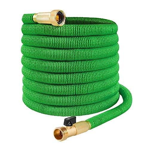 Bonus 8 Way Spray Nozzle Included Extra Strong Stretch Material with Brass Connectors 75 Feet Joeys Garden Expandable Garden Hose